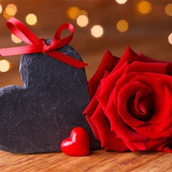 Rose and heart made of stone