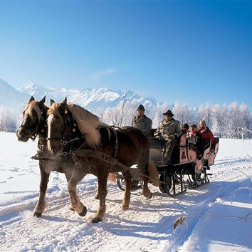 Horse sleigh ride through the winter landscape of Zell am See