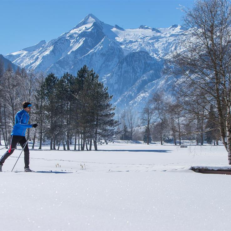 Cross-country skiing in front of a great scenery
