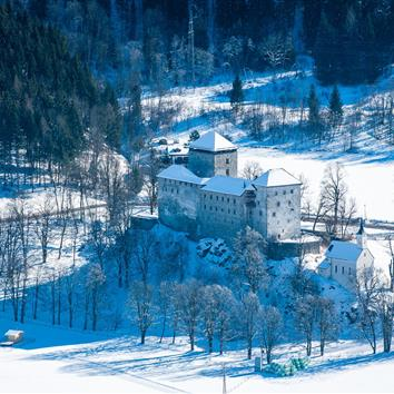 Panoramic view in winter from the castle in Kaprun